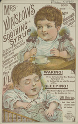 Advert for Mrs Winslow's Soothing Syrup, medicine